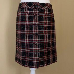 Ann Taylor Loft plaid wool blend skirt, Size 6